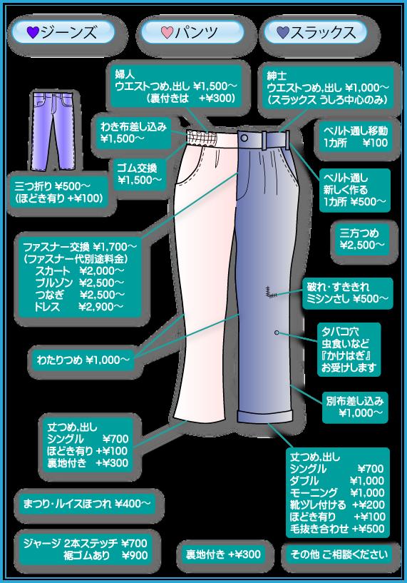 パンツ・スラックス・ジーンズ料金表